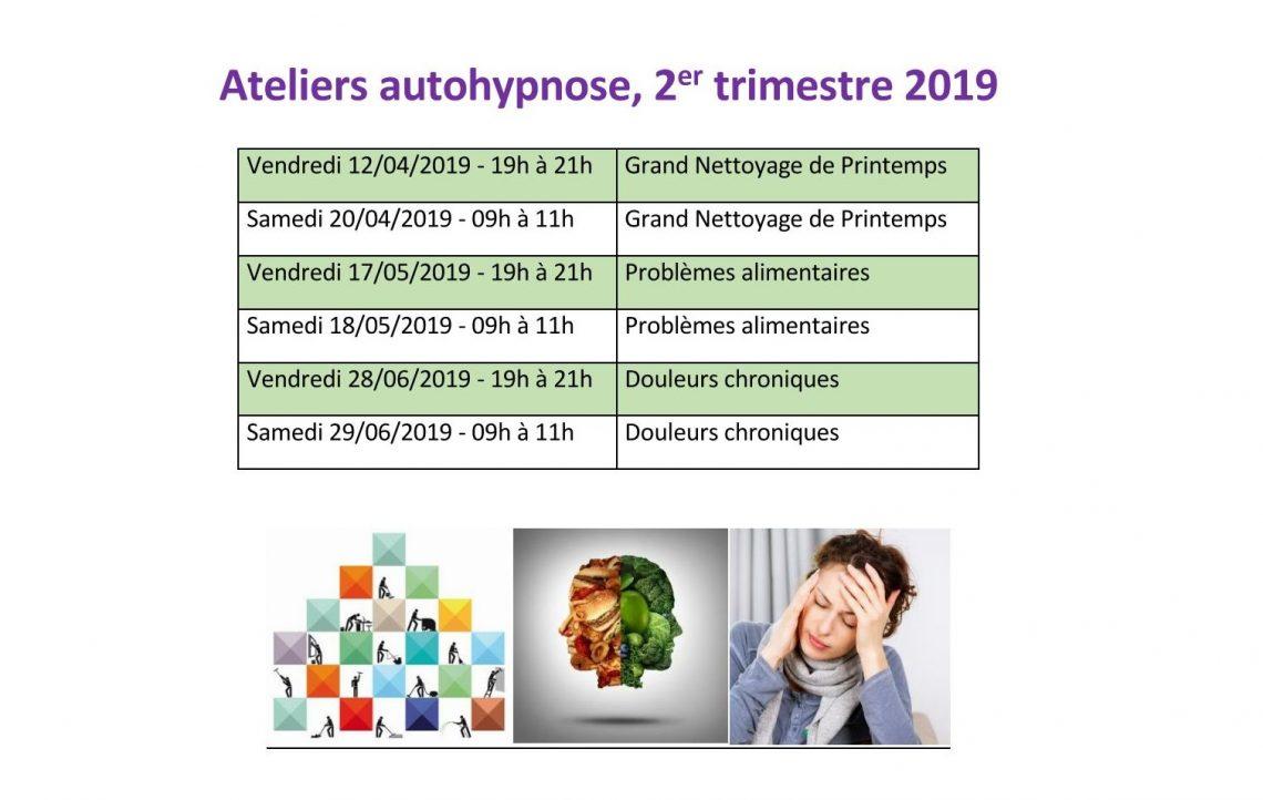 Ateliers autohypnose  2ème trimestre 2019